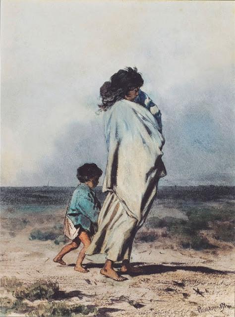 August von Pettenkofen - Цыганка с двумя детьми