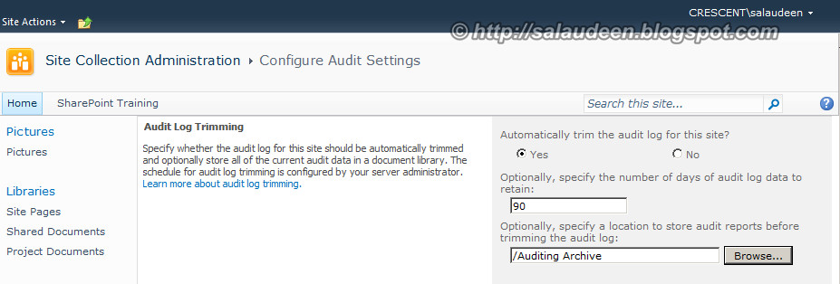 trim audit log sharepoint 2013