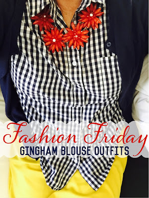 Fashion Friday - Navy and White Gingham blouse Thestylesisters.blogspot.com