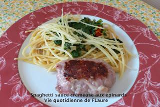 Vie quotidienne de Flaure: Spaghetti sauce crémeuse aux épinards