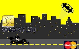 Tarjeta con forma de Visa de Batman en Amarillo y Negro.