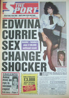 front page of an old British tabloid newspaper the sport from 16th November 1988