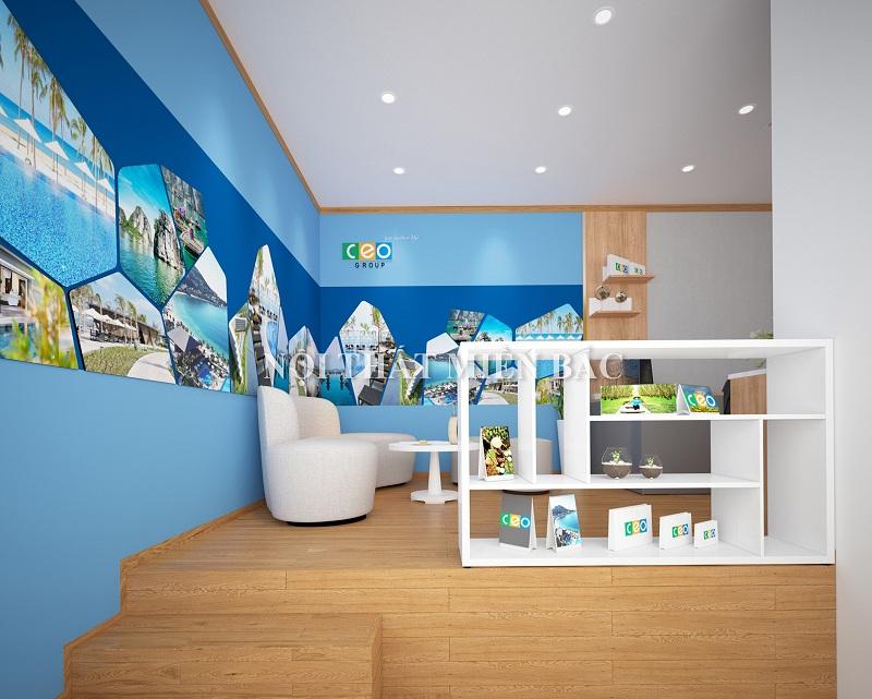 Thiết kế nội thất văn phòng làm việc không gian tiếp khách ấn tượng