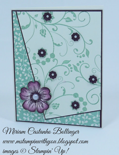 Miriam Castanho Bollinger, #mstampinwithyou, stampin up, dsc, bridal card, pretty petals dsp, flowering flourishes, flower shop, pansy punch, su