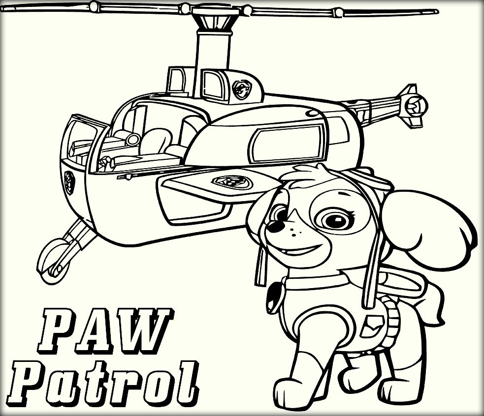 Nick jr summer coloring pages - Halicopter Paw Patrol Coloring Online