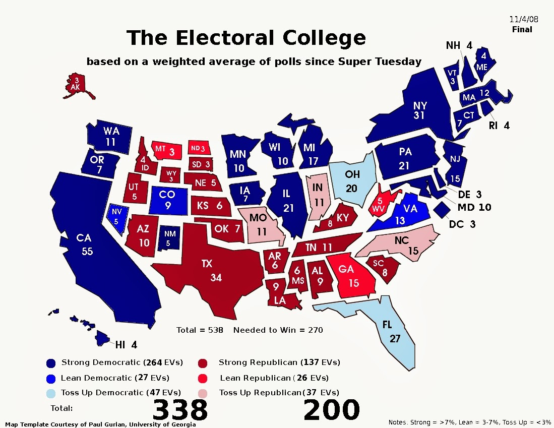 Political Map Us Election.Frontloading Hq Fhq S Final Electoral College Map 11 4 08