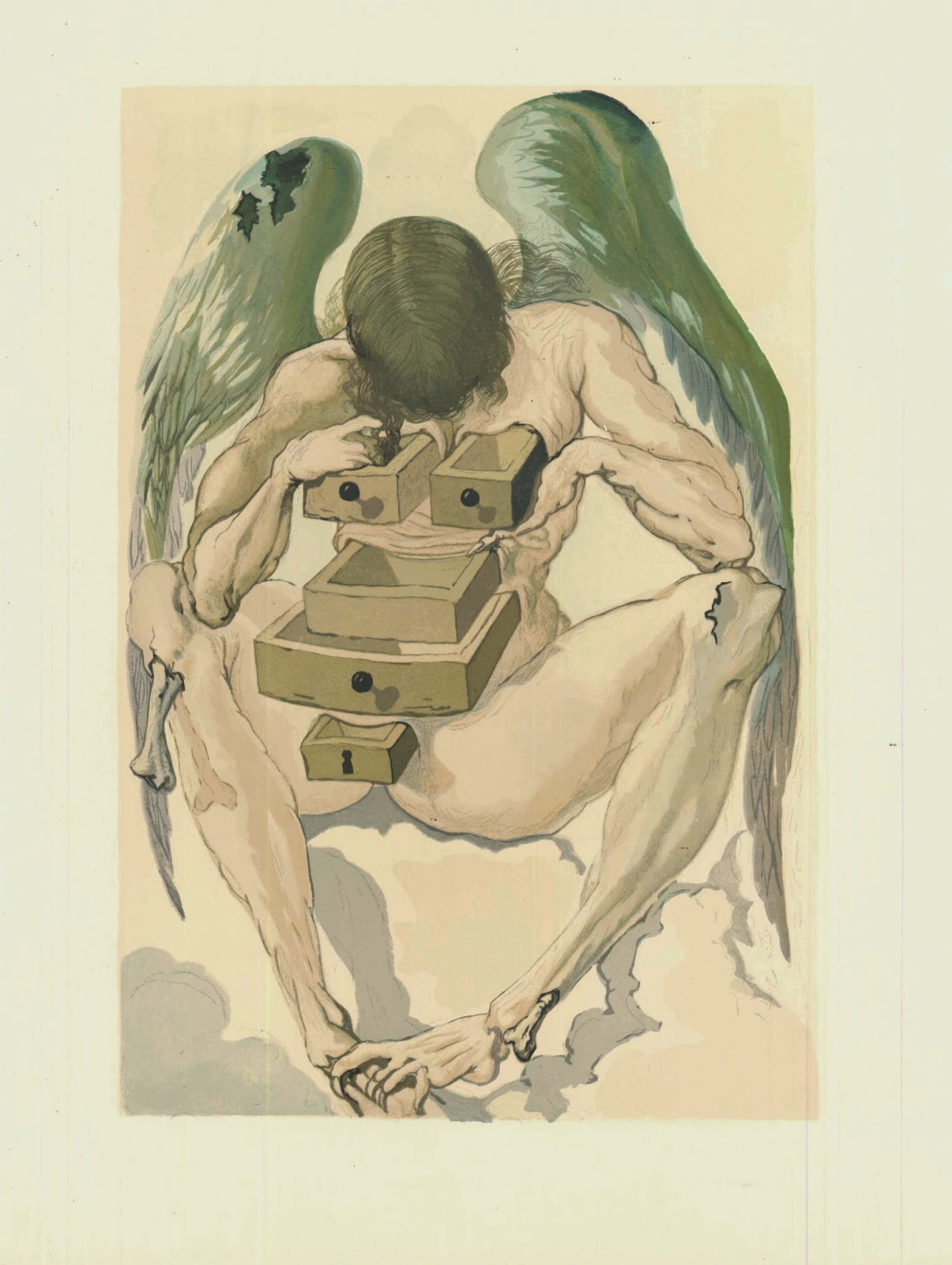 A watercolor illustration of a seated angel looking into the five open drawers emerging from its body.