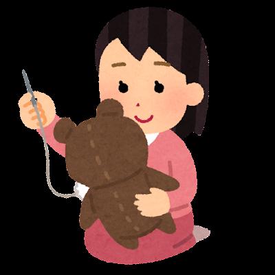 ぬいぐるみを作る人のイラスト