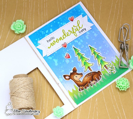 Interactive Hello Baby Card by Ellen Haxelmans | Deer Friend Stamp Set by Newton's Nook Designs #newtonsnook #handmade