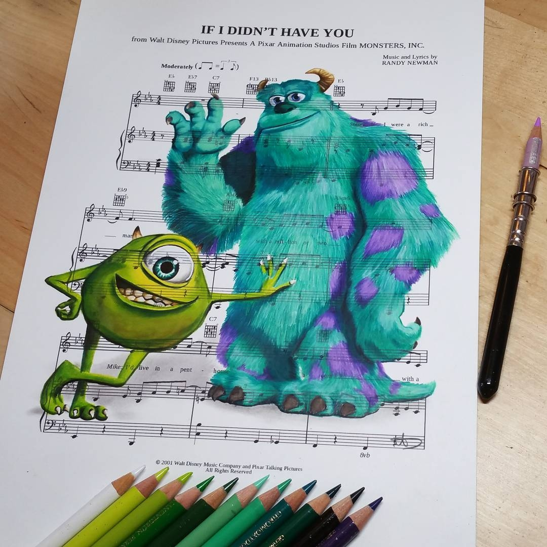 14-Monsters-inc-Mike and Sulley-Ursula-Doughty-Animated-Movies-Drawn-on-their-Music-Scores-www-designstack-co