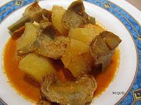 Romesco ligero con alcachofas y patatas