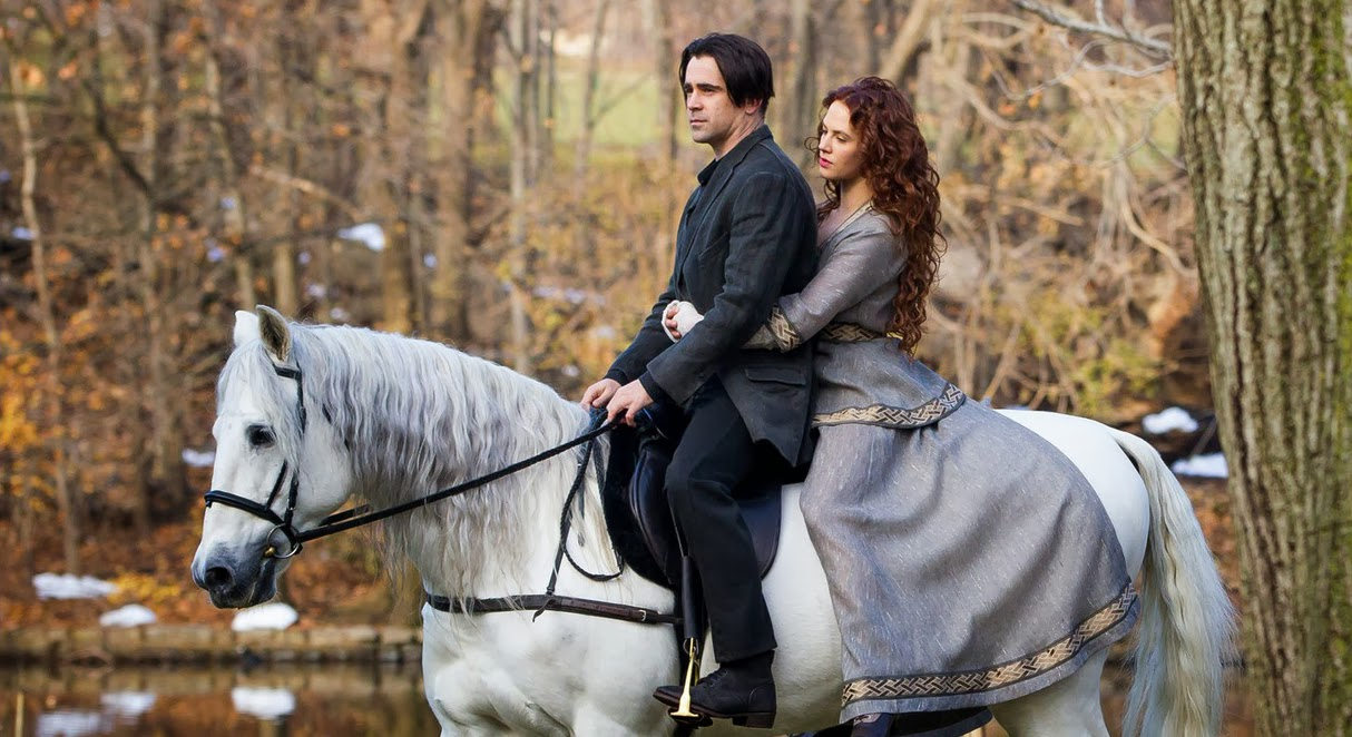 Collin Farrell (Peter Lake), Jessica Brown Findlay (Beverly Penn) y Listo (Caballo)
