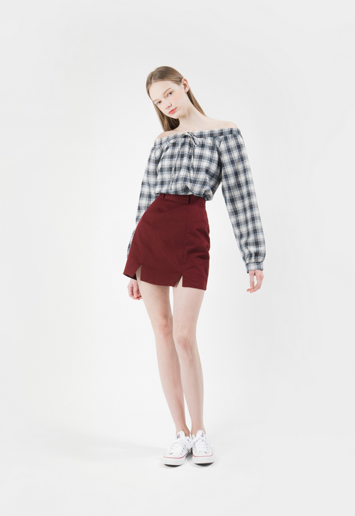 Tartan Off-Shoulder Shirt