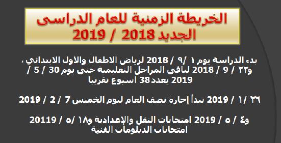 """وزارة التربية والتعليم تعلن رسمياً بدء الدراسة """" يوم 1 / 9 / 2018 حتى يوم 30 / 5 / 2019 """" ومواعيد الامتحانات والاجازات هنا"""