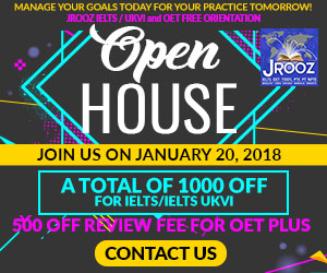 JROOZ FREE IELTS/UKVI/OET OPEN HOUSE  Join us on January 20, 2018  Know the Basics of IELTS, IELTS UKVI, and OET for NURSES  IELTS: - 1000 OFF ON REVIEW FEE - 500 OFF ON EXAM FEE  OET: - 1000 OFF ON REVIEW FEE for OET Plus - Receive Free Assistance in EXAM REGISTRATION