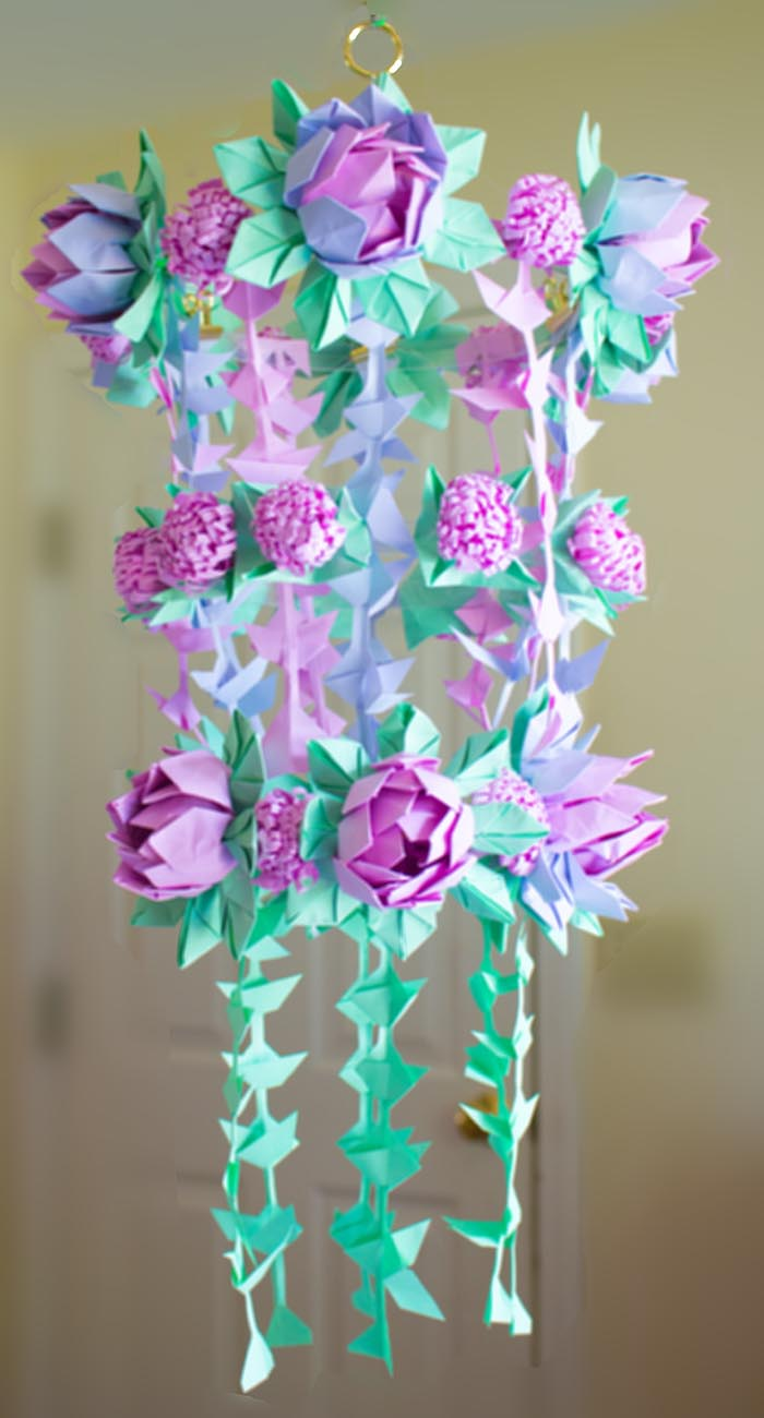 DIY Paper Flower Chandelier Using Origami Techniques Heidi Swapp Inspired