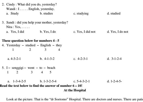 Download Soal Bahasa Inggris Kelas 5 SD Semester 1 Kurikulum KTSP