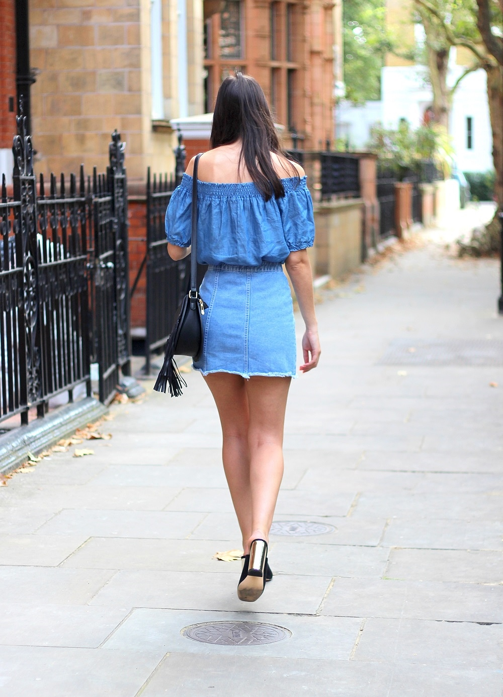 denim mini skirt bardot peexo summer style