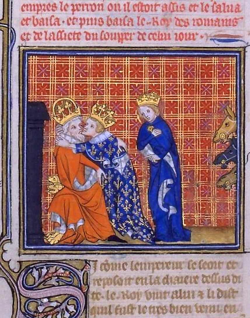 O rei Carlos V da França abraça o imperador Carlos IV  como se fossem irmãos