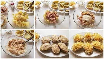preparación de patatas rellenas de atún