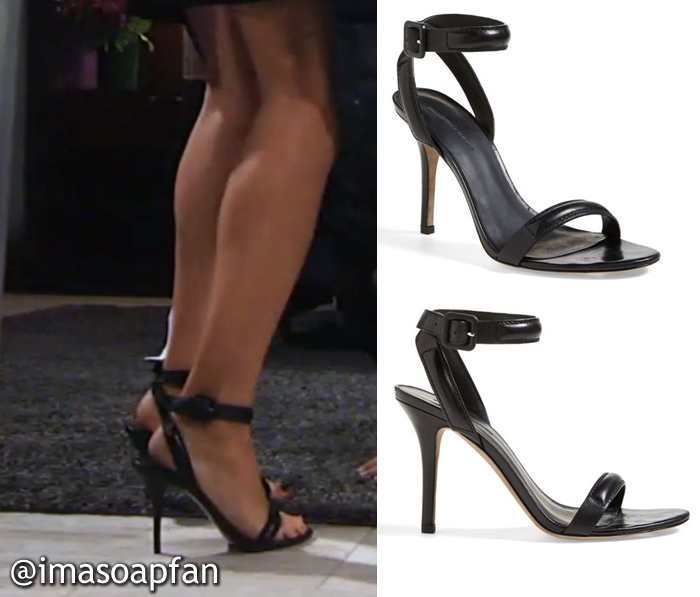 Hayden Barnes, Rebecca Budig, General Hospital, GH, Black Ankle Strap Sandals