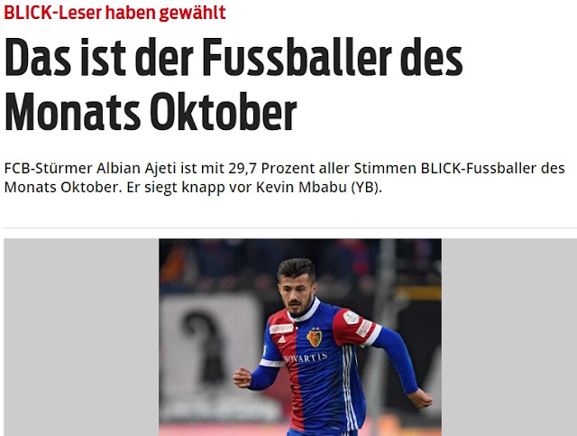 Albian Ajeti the best player of the month in Switzerland according the poll