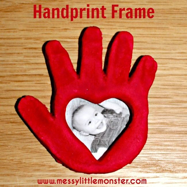 A salt dough handprint frame craft for kids.  A homemade gift idea suitable for babies, toddlers, eyfs and preschoolers. Valentines day. Mothers day.