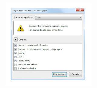 Tela configuração Firefox