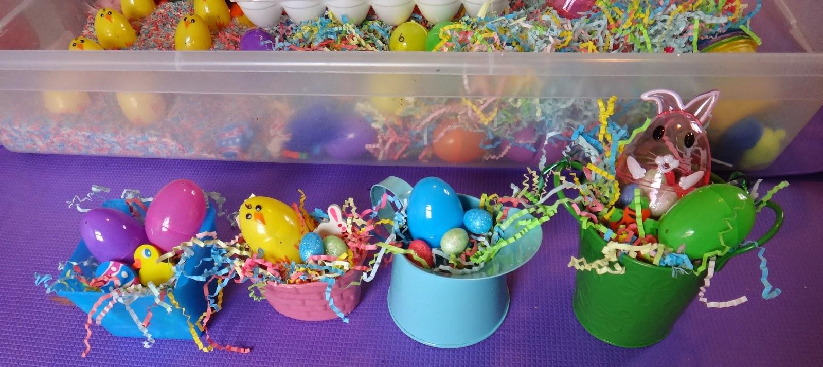 Easter sensory bin making Easter baskets