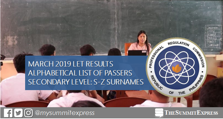 S-Z Passers: March 2019 LET Result Secondary Level