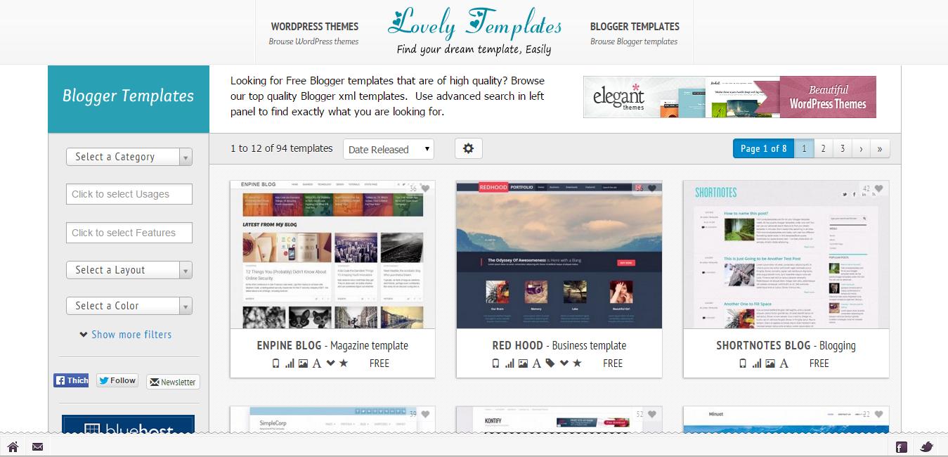 tong hop cac trang cung cap template mien phi cho blogspot