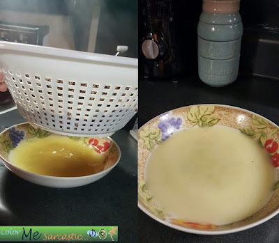 Draining Hamburger Grease Through Strainer into a glass bowl