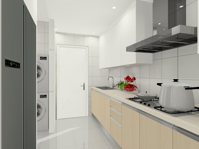 Wet kitchen combined with laundry area.- Meridian Interior Design