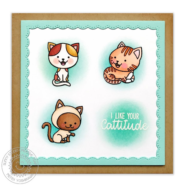 Sunny Studio Stamps: Purrfect Birthday & Fancy Frames Cattitude Card by Mendi Yoshikawa