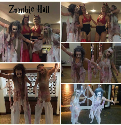 Zombie stilt walkers strutting their stuff.