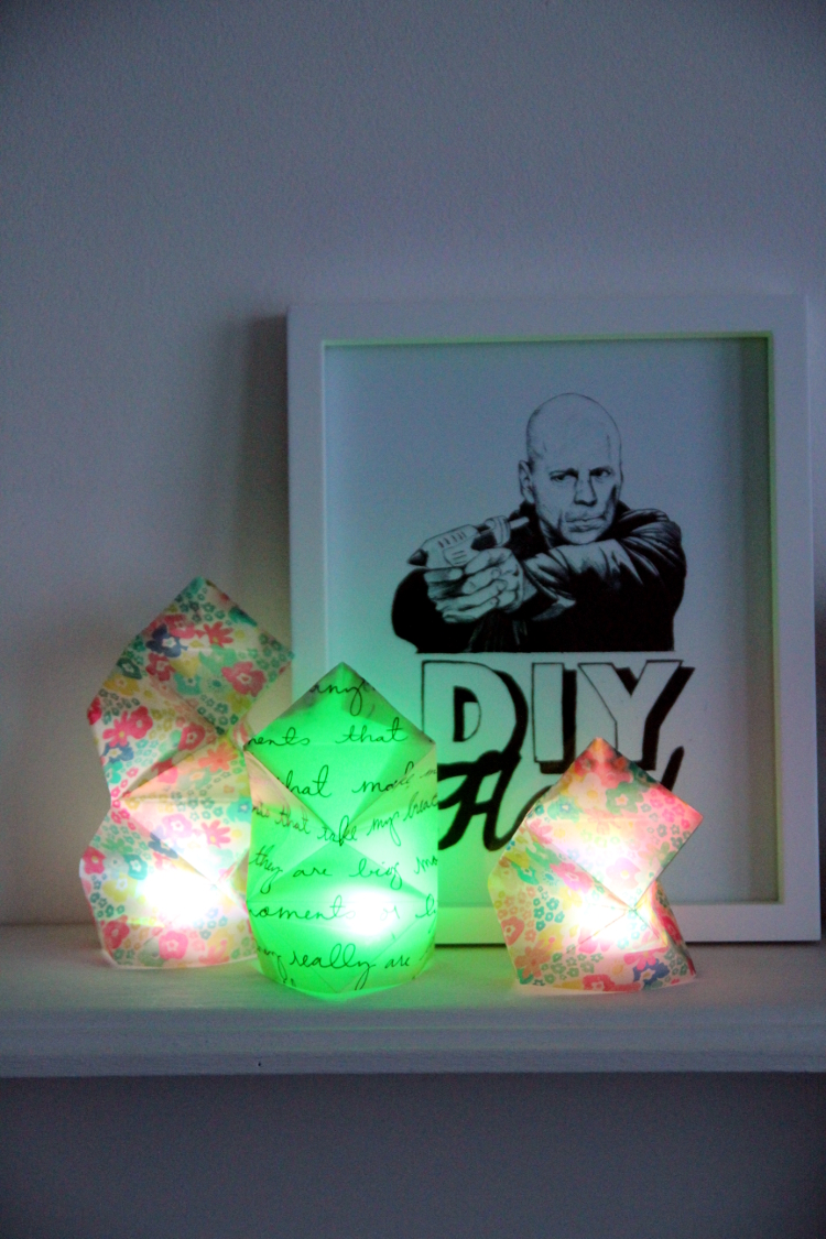 DIY FOLDED GEOMETRIC VELLUM CANDLE HOLDERS
