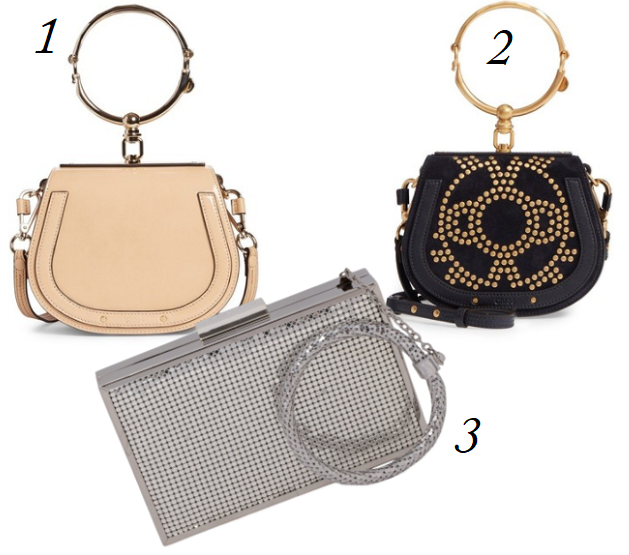 2018 Handbag Trends, Chloe Nile Bag, Chloe Bracelet Bags, Bracelet Bags, Circle Handle Bags, Metallic Handle Bags