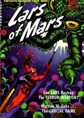 Book cover depicting a space soldier firing a ray gun at a tentacled monster.