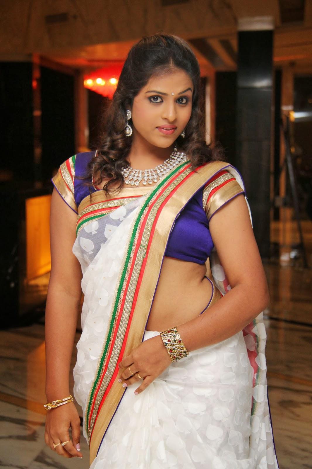 Voluptuous sexy Hemalatha hot photos in white saree at birthday party