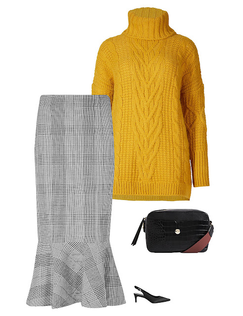 check midi skirt, mustard jumper