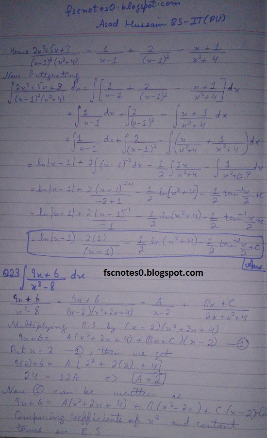FSc ICS Notes Math Part 2 Chapter 3 Integration Exercise 3.5 question 23 - 31 by Asad Hussain 1