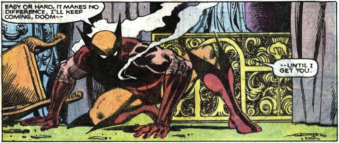 Wolverine crouched on the floor, chest smoldering