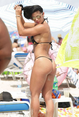 The Michelle Lewin with thong bikini in Miami Beach