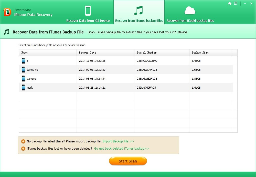 Recover Data from iTunes Backup File