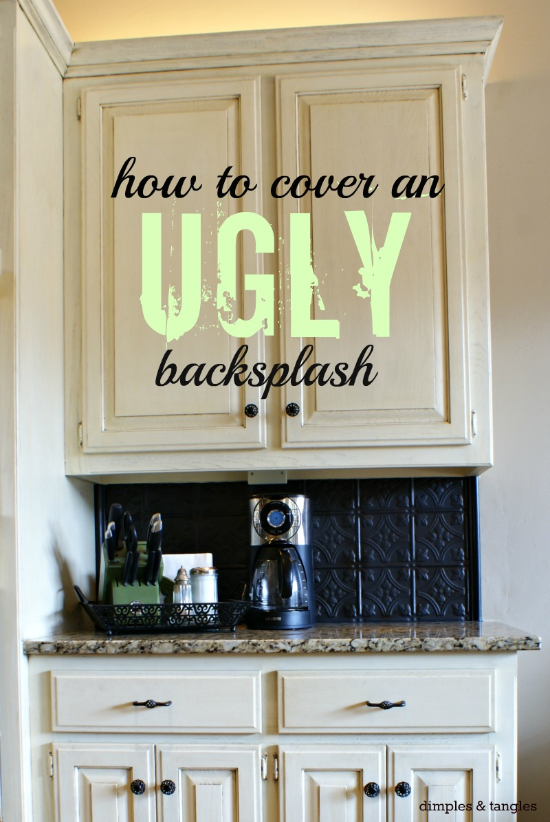 how to cover ugly kitchen backsplash metal kitchen backsplash How to Cover an Ugly Kitchen Backsplash Way Back Wednesdays