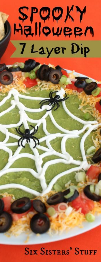 Spooky Halloween 7 Layer Dip via Six Sisters' StuffSpooky Halloween 7 Layer Dip via Six Sisters' Stuff