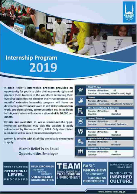 Islamic Relief Pakistan Internship 2019 Monthly Stipend Rs 20,000/-