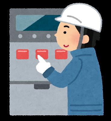 機械を操作している工場員のイラスト
