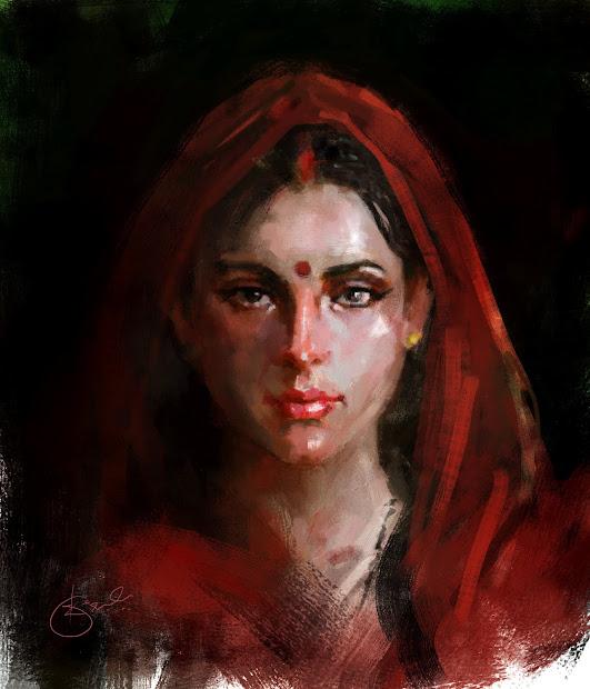 Indian Woman Portrait Painting