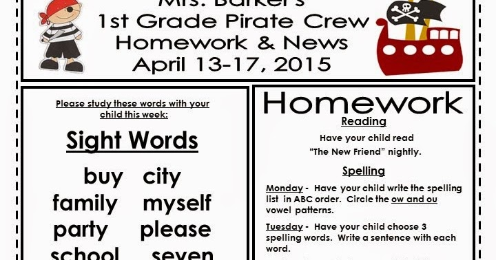 Weekly Newsletter ~ Mrs. Barker's 1st Grade Smarties